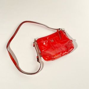 Coach red patent leather crossbody bag